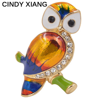 CINDY XIANG Unisex Colorful Enamel Owl Brooches Women And Men Brooch Pin CZ Rhienstone Bird Jewelry Backpack Badges Summer 2017