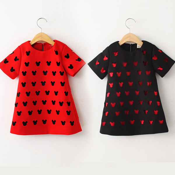 2-8 Years Old Minnie And Mickey Cotton Girls Easter Dress 2015 Baby Girl Chothing Spring And Autumn Children Girls Dresses(China (Mainland))