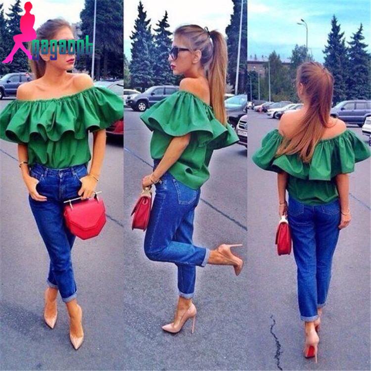Gagaopt made 2015 fashion Loose Sleeveless Tube shirt with Ruffles women summer Blouse green&rose red summer dress for women(China (Mainland))