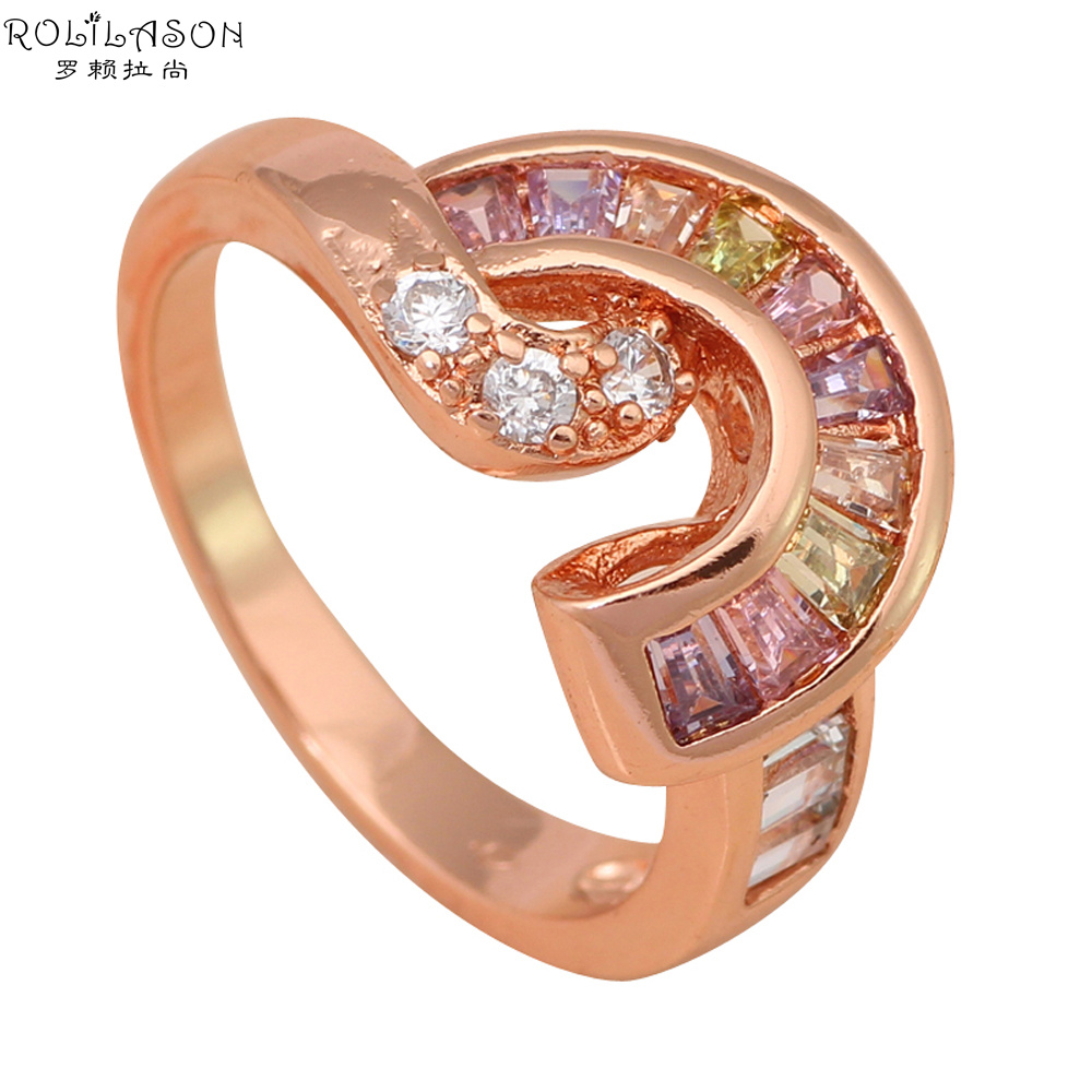 tibet 18K Gold Plated Color Crystal Health Fashion Jewelry Nickel & Lead Free Golden Element Ring Sz #6.75 #5.75 #6 #7 JR1825(China (Mainland))
