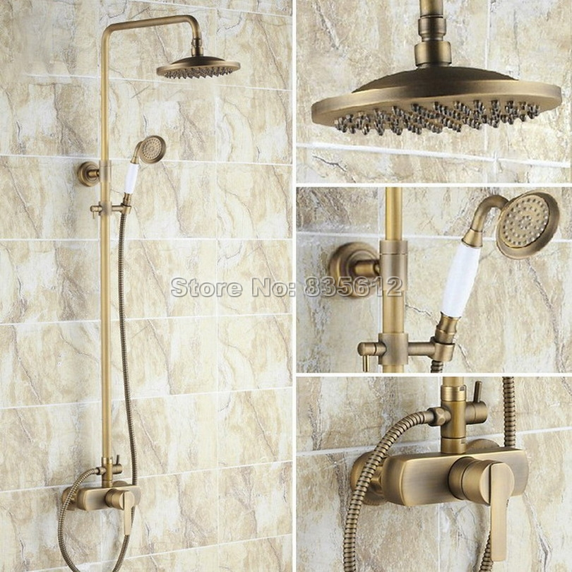 Rain Shower Faucet Set With Hand Spray 8 Shower Head Wall Mounted A