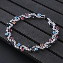יוקרה כחול קריסטל צמיד לחתונה כסף צמיד ריינסטון קסם נשים צמידי תכשיטי Pulseira Feminina BR520(China)