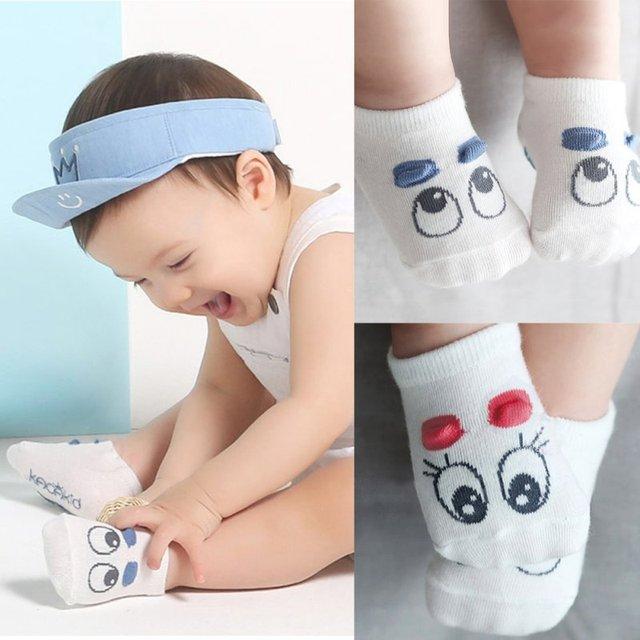 1 Пара Новорожденный Носки Baby Boy Kid Девочек Младенческой Милый Глаз Кроватки Теплая Обувь Сокс 0-3 Т