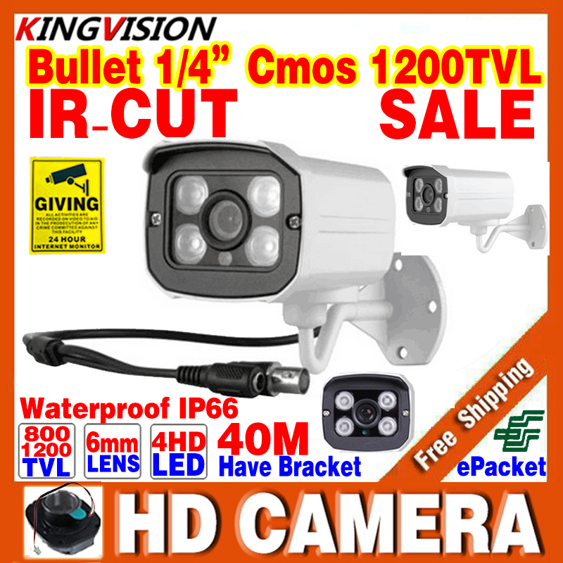 2016Sale Real 1/3cmos 800/1200TVL Waterproof IP66 Outdoor Security Hd Color Cctv Camera IR-CUT Infrared Night Vision 30M Bracket(China (Mainland))