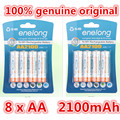 8pcs 100 genuine original enelong 2100mAh NiMH AA rechargeable batteries high quality toys cameras flashlights and