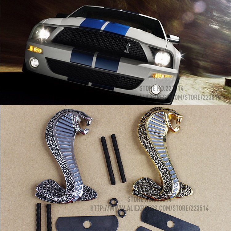 Excellent 2 colors Mustang Cobra Snake Metal car Emblem For Ford Mustang Front Grille car badge sticker Full of arrogance(China (Mainland))