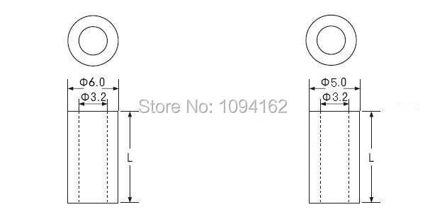 ID3.2mm*OD5mm*12mm M3 ABS White Nylon Round Standoff Spacers Straight Hollow Support Tube For PCB Board