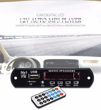 Car Digital LED 12V Auto MP3 Player Decoder Board Panel Support FM Radio USB TF AUX Remote Display Memory Function Free Shipping(China (Mainland))