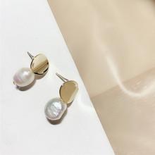 AOMU Korea Design Metal Gold Geometric Irregular Circle Square Natural Freshwater Pearl Stud Earrings for Women Girl Gift(China)