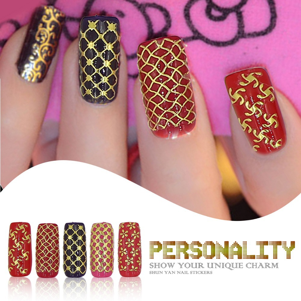 Perfect Summer 3D Gold Nail Stickers 1 big Sheet Metallic Art Decoration Tools Mixed Design Beautiful Decals - Gel Len Beauty Store store