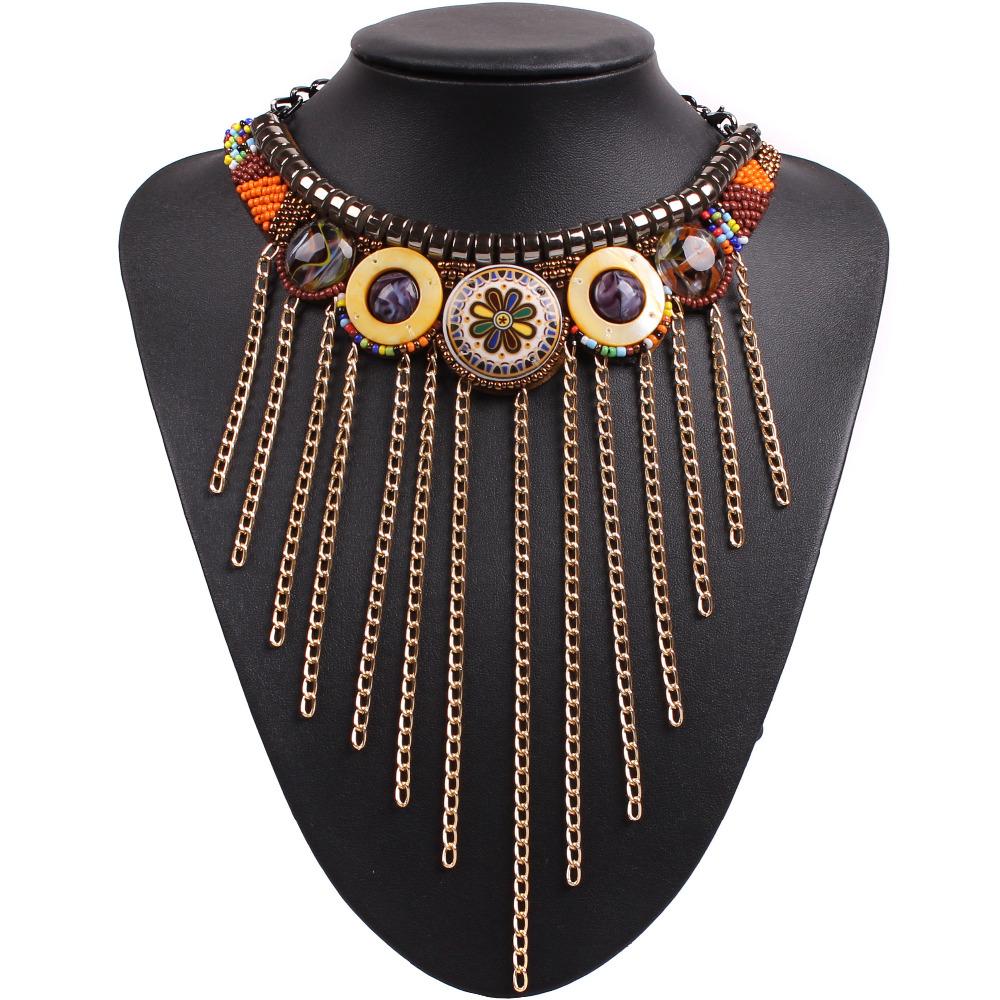 2016 new design fashion metal black chain tassel vintage tibetan chunky statement bib choker necklace collar for women jewelry(China (Mainland))