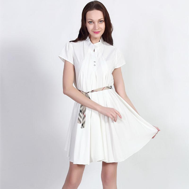 Plus Size Clothing Fashion Style Summer Dress 2015 Women Short Sleeve Pleated Casual Dresses Loose One Sashes White Dress 8098-W(China (Mainland))