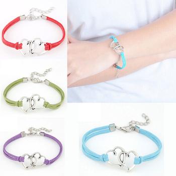 7 цветов кожаные браслеты для женщины мужчины ювелирные изделия pulseiras мода двойное ...
