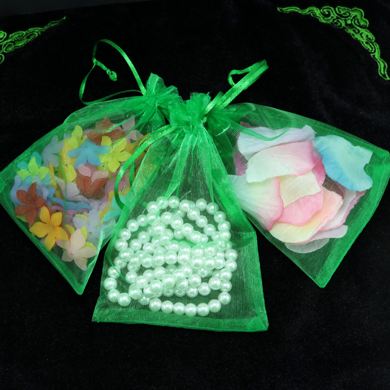 Wholesale pcs lot drawable green small organza bags