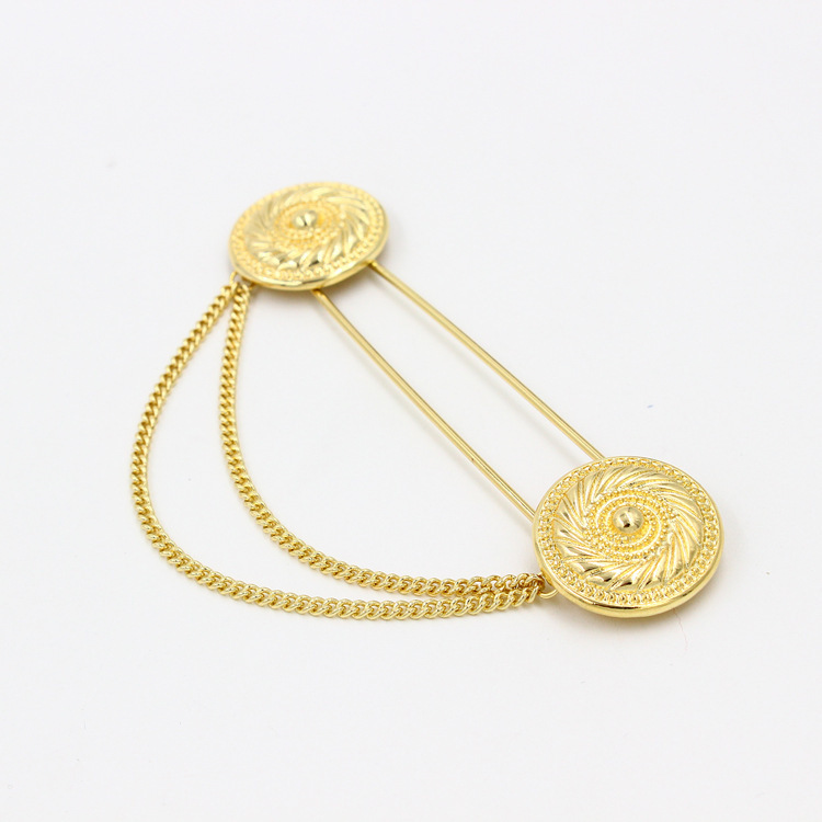 Double Chain Collar Tips Large Alloy Brooch Pins Women/Men Gold/Silver Color Fashion Jewelry RAE - LLC. store