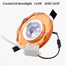 5pcs/lot 1x3W white or warm white crystal led downlight mini led lamp for cabinet AC85-265V indoor home decoration(China (Mainland))