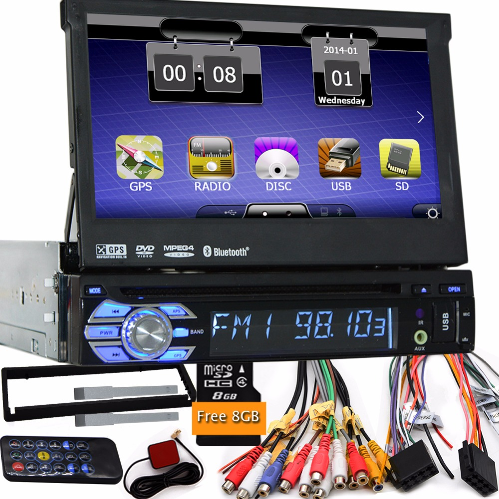 7' Universal 1 Din Car Audio DVD Player+Radio+one din GPS Navigation+Autoradio+Stereo+Bluetooth+PC+DVD Automotivo+SD USB RDS Aux(China (Mainland))