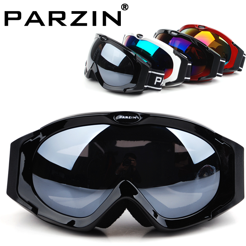 Parzin Snowboard Goggles Polarized Skiing Glasses Spherical Double Layer Anti-fog Ski Goggles With Box Black 617(China (Mainland))