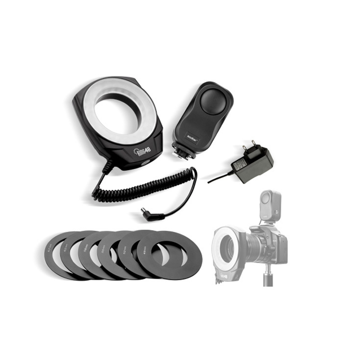 Godox Ring 48 LED Macro Ring Flash Video Light for Canon Nikon Sony Pentax digital cameras With Six Lens Adapter(China (Mainland))