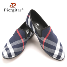 Piergitar Blue and white plaid canvas shoes luxurious brand men loafers black pig leather insole men 's casual shoes men's flats(China (Mainland))