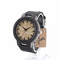 BoboBird C023 Mens Black Sandal Wooden Bamboo Watches Luxury Wooden Bamboo Watches With Leather Quartz Watch