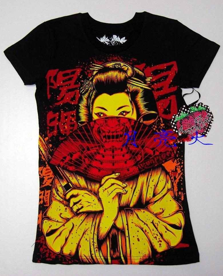 Free Shipping iron fist Skull 100% cotton Japanese geisha skull Folding dagger short-sleeve punk rock t-shirt(China (Mainland))