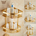 AG Series Fashion Golden Polished Space Aluminum Bathroom Shelf Single Double Layer Corner Shelf Bathroom Basket