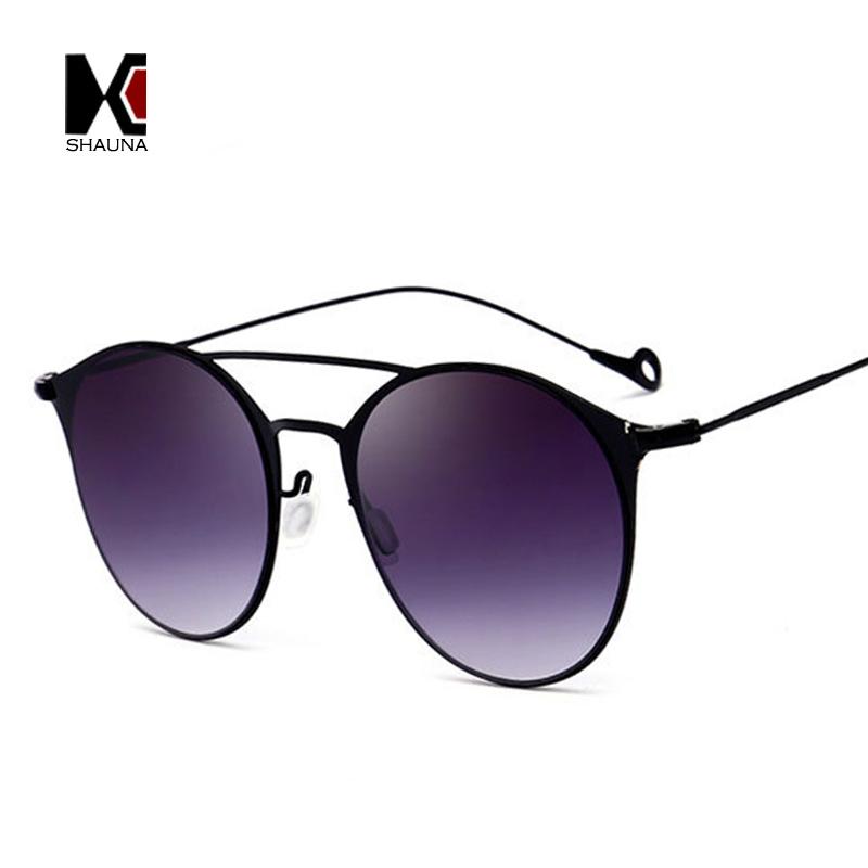 shade glasses 5poz  SHAUNA Light Weight Fashion Double Bridges Women Round Sunglasses Retro Men  Gradient Shade Glasses
