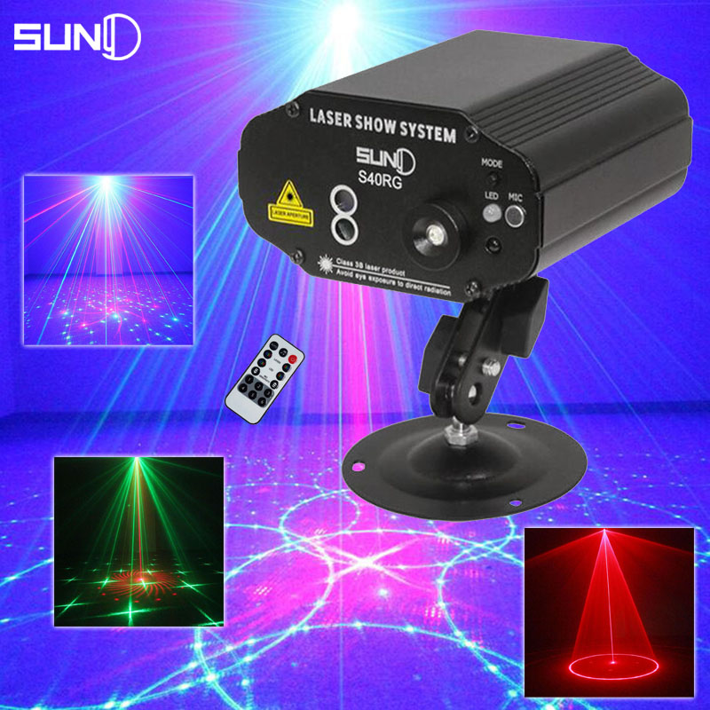 SUNY Mini DJ Laser Lights RG Professional Party Disco Light Show Luces Discoteca Stage Lighting Effect With Remote Control 110V(China (Mainland))