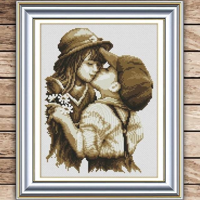 Горячие рукоделие DIY вышивки крестом первой романтической картины поцелуй крест - вышивка украшения живописи искусство домашнего декора # HA10447