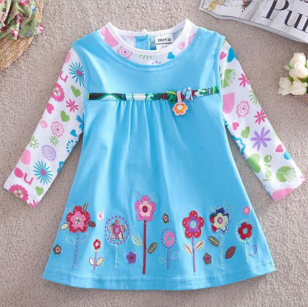 Free shipping high quality 5pcs/lot 100% cotton girl's A shape blue long sleeve t shirt with sun flowers pattern