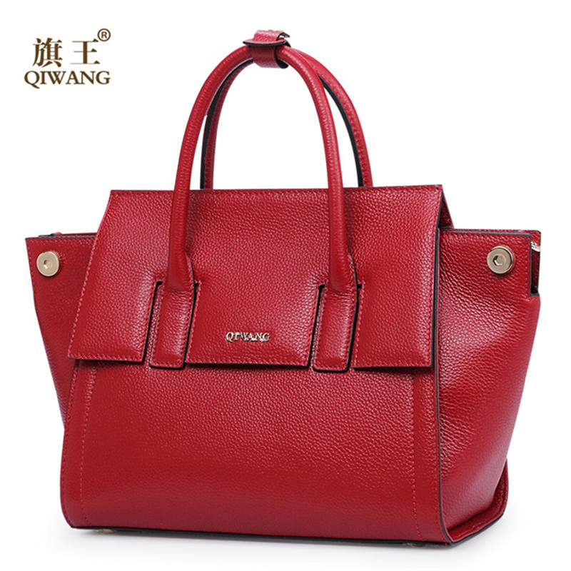 Qiwang new 100% genuine leather fashion women bag/High quality tote branded bag for women<br><br>Aliexpress