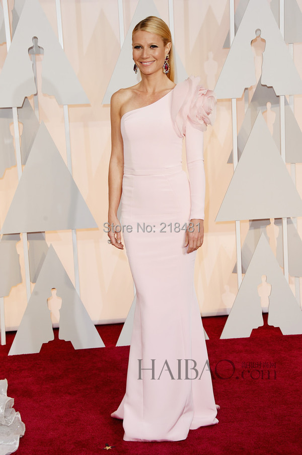 Fashion Mermaid Scalloped Big Flowers 2015 Gwyneth Paltrow Long Sleeve Pink 57th Evening Celebrity Dresses - Amy Boutique store