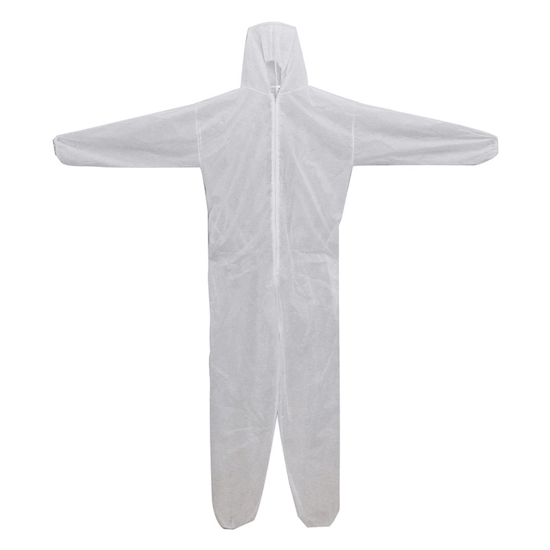 Disposable Coverall Dust Spray Suit Siamese Non-woven Dust-proof Clothing White Labor Safely Security Protection Clothes(China (Mainland))