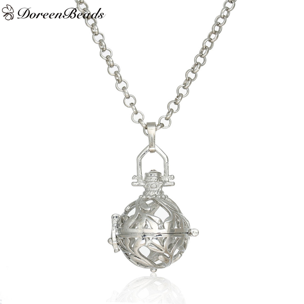 DoreenBeads 2017 Trendy Copper Round Wish Box Pendants Link Chain Necklace Hollow Leaf (Fit 16mm Beads), About 80cm Long, 1PC(China (Mainland))