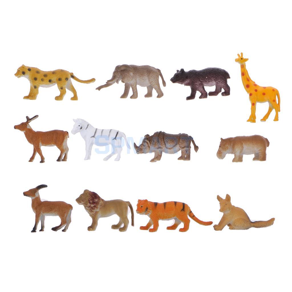 Plastic Wild Animal Model Figures Kids Party Bag Filler Favour Toys 12pcs(China (Mainland))