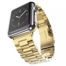 Stainless Steel Buckle Clasp Metal Smart Watch Band Strap For Apple Watch iWatch With Metal Adapter Clasp-Gold Color