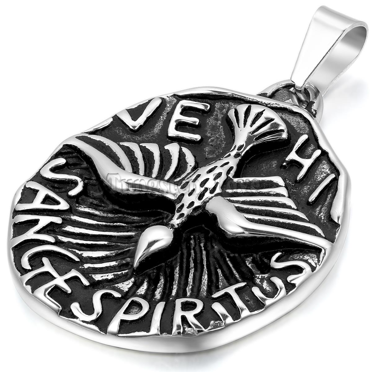 New Vintage Stainless Steel Necklaces Men Unique Love Bird Tag Pendant Necklaces Black Silver Fashion collar collier(China (Mainland))