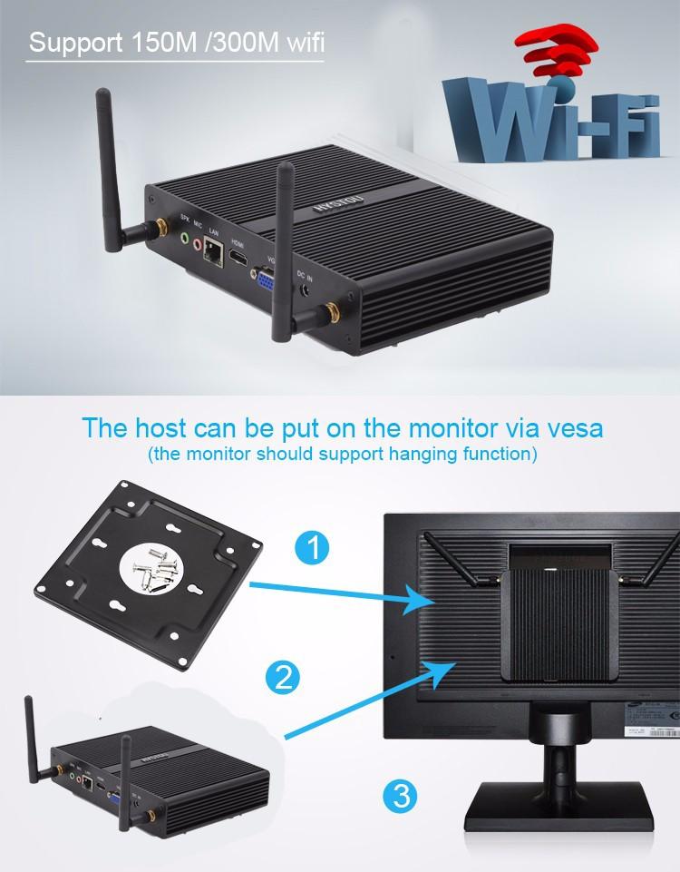 [5gen Broadwell i3 5005U]Gaming PC Mini Computer Nuc i3 4005U Fanless Micro PC Win 10 TV Box WiFi VGA HDMI CE FCC ROHS HTPC 1