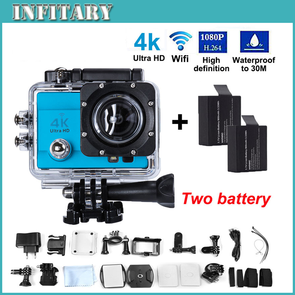 "Action Camera 4K Ultra HD Wifi 16MP 2.0"" LCD 170' view lens diving Diving 30M Waterproof Helmet Sports Cam+2Battery(China (Mainland))"