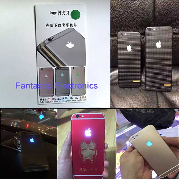 6S Luminescent Glowing LED Light Up Transparent Logo Mod Panel Kit Back Cover For iphone 6S 4.7 inch 50PCS /Lot(China (Mainland))