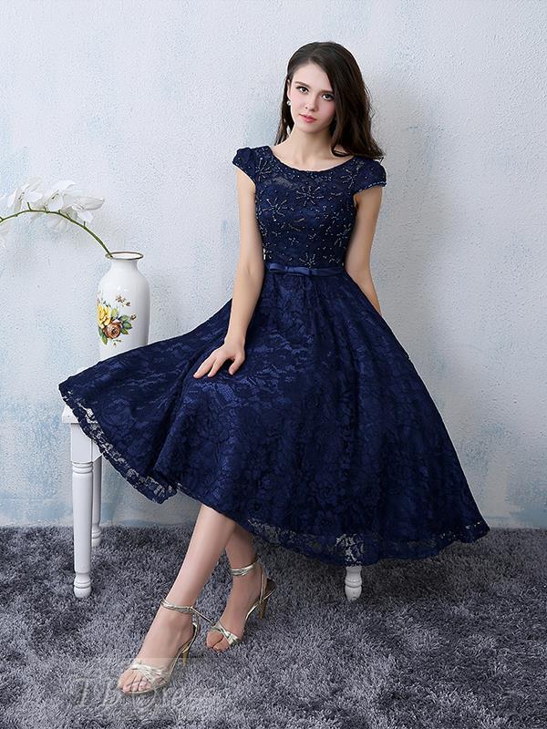 Navy Blue A Line Lace Cocktail Dresses Sequins Beading Short Sleeve Knee Length Elegant Short