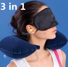 wholesale price 1 set of Travel Kit Inflatable U shape Neck Pillow+eye mask+Ear Plugs grey and blue ostrich pillow cushion(China (Mainland))