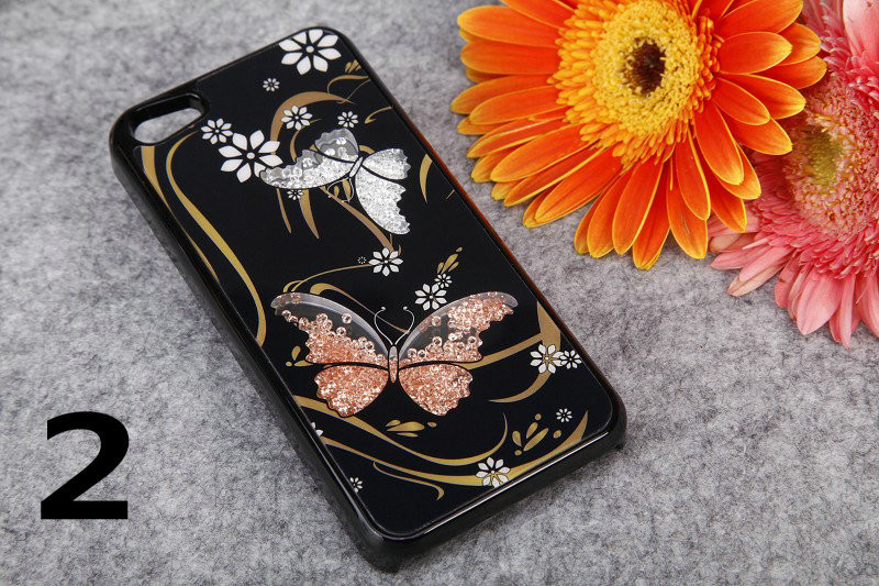 2014 Brand Bling Butterfly Movable Crystal Hard Back Cover Case Apple iPhone 5g/5c/4s Red Purple without retail box - Concession Stand store