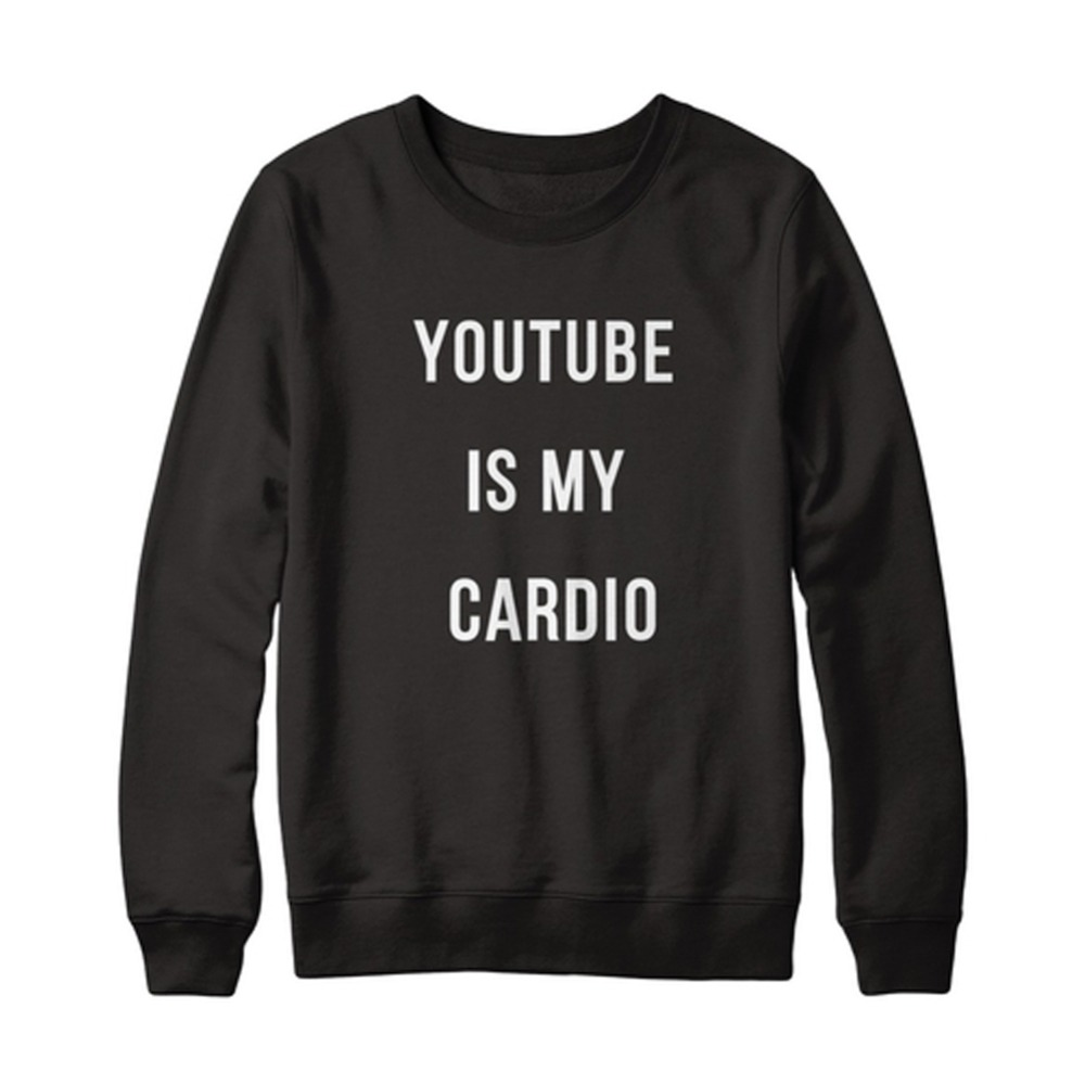 Youtube Is My Cardio Black Hoody Sweatshirt Women Hoodies Long Sleeve Sport Suit Knitted Casual Pullover Tracksuit(China (Mainland))