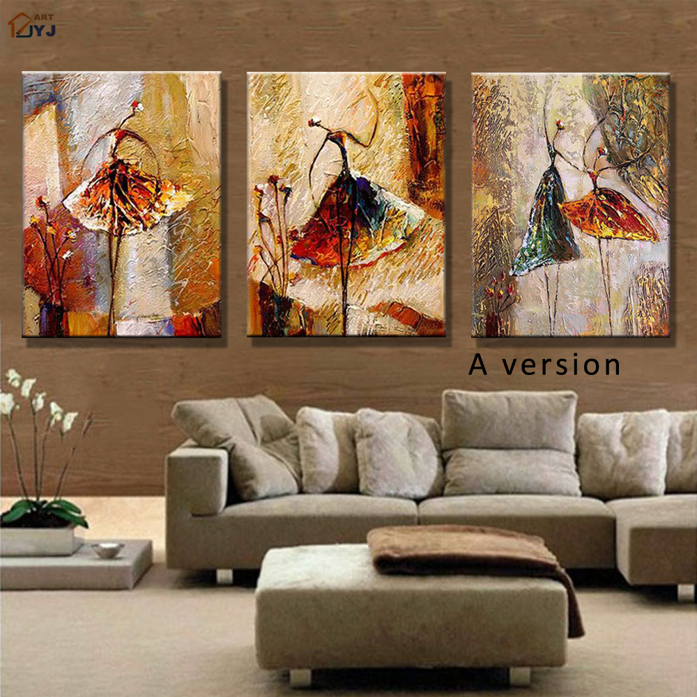 Ballet dancer picture hand painted modern abstract oil for Wall paintings for living room