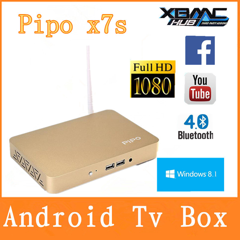 PIPO X7s X7 Dual Boot Smart TV Box Mini PC Windows 8.1 Android 4.4 Intel Z3736F Quad Core 2.16GHz 2G+32G BT Media Player Golden(China (Mainland))