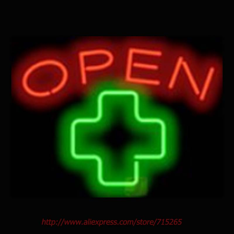 Medical Cross Open Neon Sign Neon Bulbs Real Glass Tube Handcrafted Art Design Decorate Beer Pub advertisement Restaurant 17x14(China (Mainland))