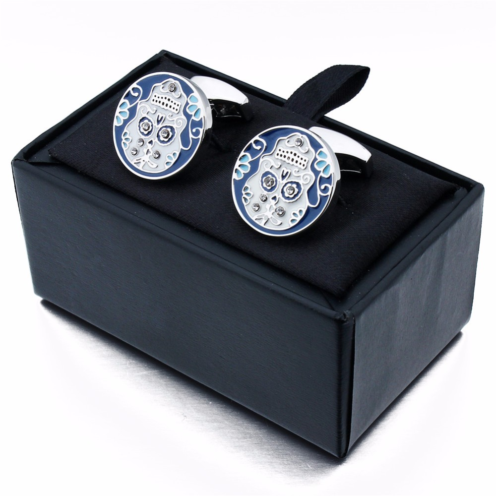 New Arrival Black and Blue Enamel Crystal Skull Cufflinks for Wedding Party