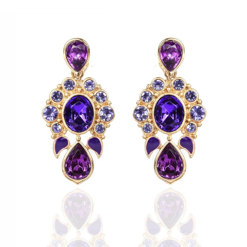Drop earrings for women long hanging purple crystal water Vintage style fashion rings